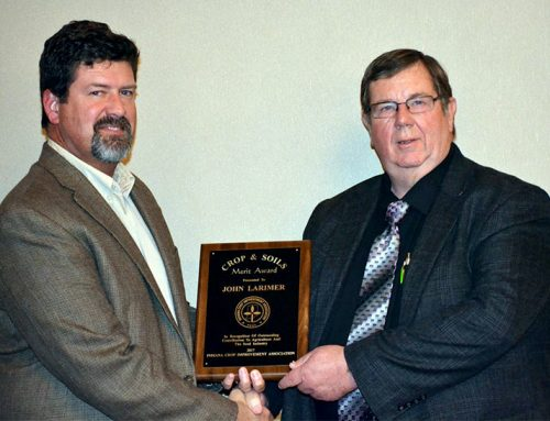 John Larimer received the Crop & Soils Merit Award from Indiana Crop Improvement Association (ICIA)